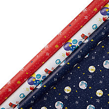 Buy John Lewis Man on the Moon Gift Wrap and 18 Stickers, Pack of 3, Multi Online at johnlewis.com