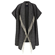 Buy Hobbs Harewood Fringe Cape, Black / White Online at johnlewis.com