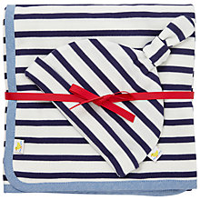Buy John Lewis Baby Blanket and Hat Set, Navy/White Online at johnlewis.com
