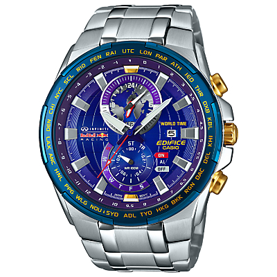 Casio EFR-550RB-2AER Men's Edifice Red Bull Limited Edition Stainless Steel Strap Watch, Silver/Blue
