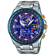 Buy Casio EFR-550RB-2AER Men's Edifice Red Bull Limited Edition Stainless Steel Strap Watch, Silver/Blue Online at johnlewis.com