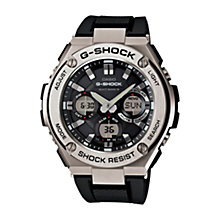 Buy Casio GST-W110-1AER Men's Rubber Strap Watch, Black/Silver Online at johnlewis.com