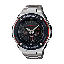 Buy Casio GST-W100D-1A4ER Men's G-Shock Stainless Steel Strap Watch, Silver/Black Online at johnlewis.com