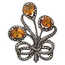 Buy Sharon Mills Vintage 1950s Silver Toned Semi-Precious Stone Triple Flower Brooch, Silver Online at johnlewis.com