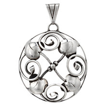 Buy Sharon Mills Vintage 1940s Silver Swirl Pendant, Silver Online at johnlewis.com