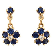 Buy Sharon Mills Vintage 9ct Gold Sapphire Diamond Cluster Drop Earrings, Gold Online at johnlewis.com