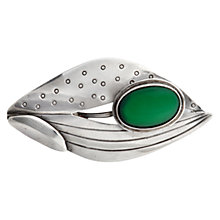 Buy Sharon Mills Vintage 1954 Oval Silver Cabochon Chalcedony Stone Brooch, Silver Online at johnlewis.com