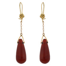 Buy Sharon Mills Vintage 9ct Gold Teardrop Drop Earrings, Carnelian Online at johnlewis.com