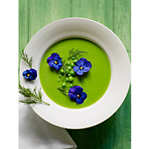 Chilled Pea Soup with Viola Flowers by Marina Filippelli
