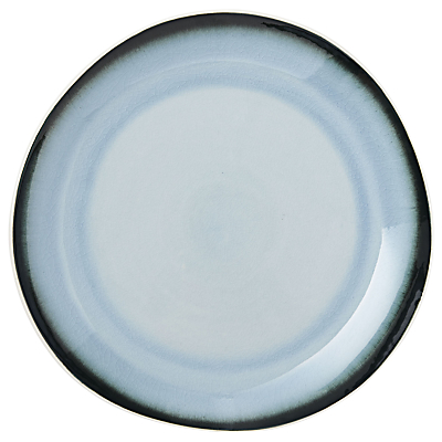 west elm Crackled Dinner Plate, White/Blue