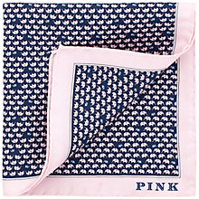 Buy Thomas Pink Elephant Family Silk Pocket Square, Navy/Pink Online at johnlewis.com