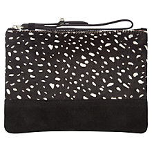 Buy Jigsaw Mini Pochette Clutch Bag, Black Pony Online at johnlewis.com