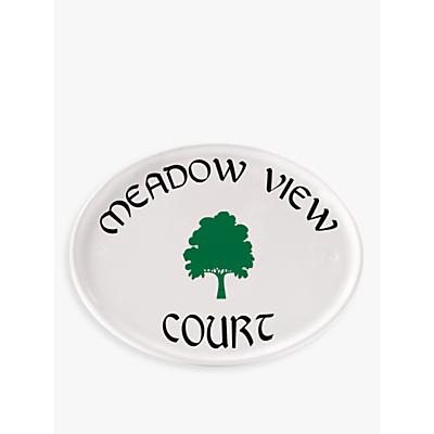 The House Nameplate Company Ceramic Oval House Name, White, Tree Motif, Gaelic Font