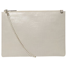 Buy Whistles Rivington Shiny Croc Leather Chain Clutch Bag, Beige Online at johnlewis.com