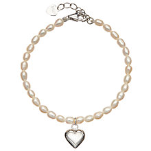 Buy John Lewis Pearl And Sterling Silver Heart Bracelet Online at johnlewis.com