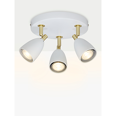 John Lewis Sasha GU10 LED Spotlight Plate, 3 Light, Ivory/Brass