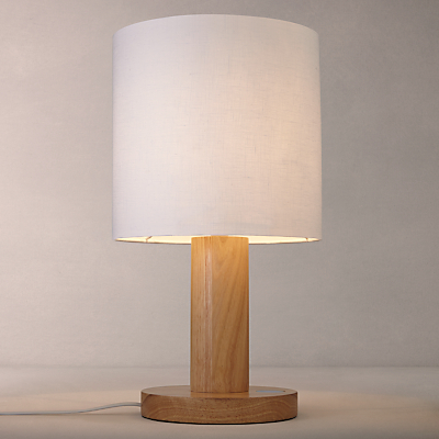 John Lewis Slater Large Wooden Touch Lamp, Light Wood