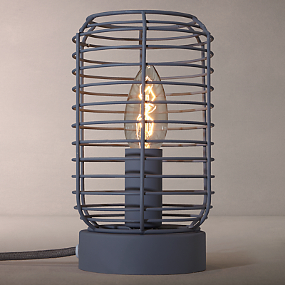John Lewis Tarny Metal Wire Cage Table Lamp, Grey