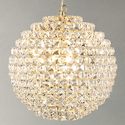 John Lewis Exquisite Crystal Globe Ceiling Light, Brushed Brass, Small