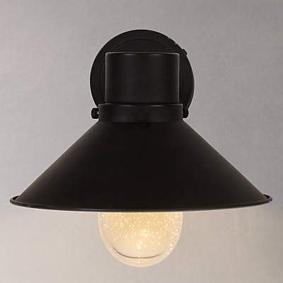 John Lewis Harper Hooded Outdoor Wall Light, Black