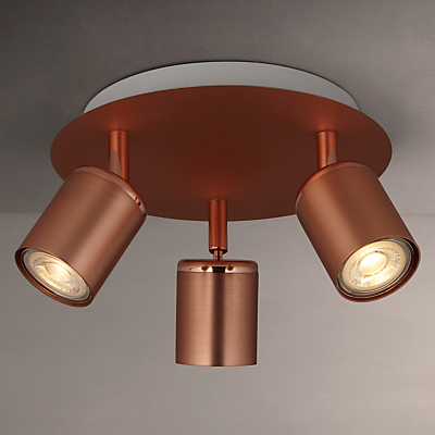 John Lewis Mode GU10 LED Spotlight Plate, 3 Light, Copper