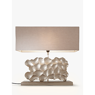 Pacific Lifestyle Sculptured Wide Rectangle Table Lamp, Champagne