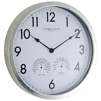 Image of London Clock Company Galvanised Metal Outdoor Clock, Dia.35cm, Grey