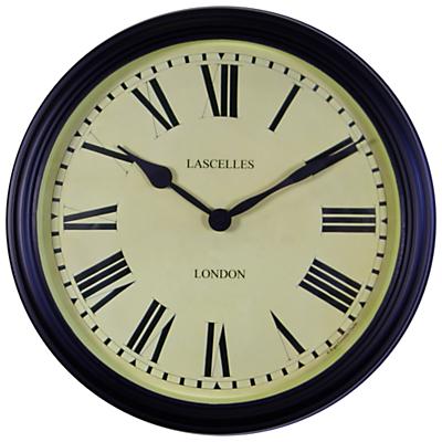 Image of Roger Lascelles Outdoor Black Metal School Clock, Dia. 38.5cm