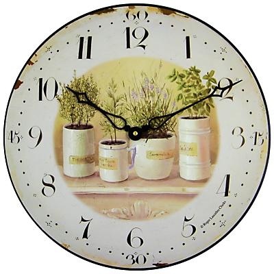 Image of Roger Lascelles Herb Pots Wall Clock, Dia. 36cm