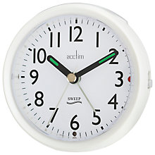 Buy Acctim Round Sweep Alarm Clock, Pearl White Online at johnlewis.com