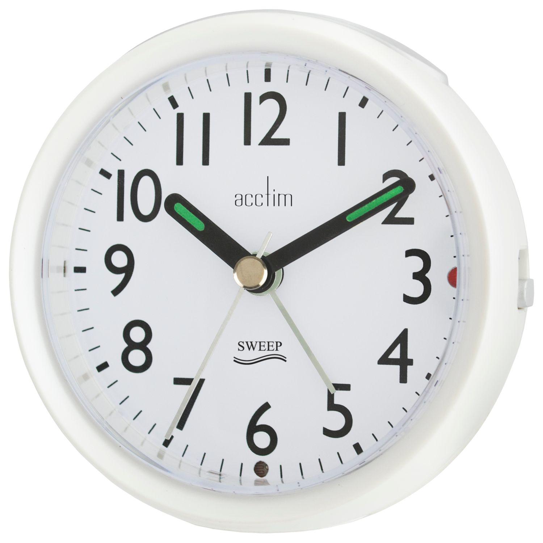 Acctim Acctim Round Sweep Alarm Clock, Pearl White