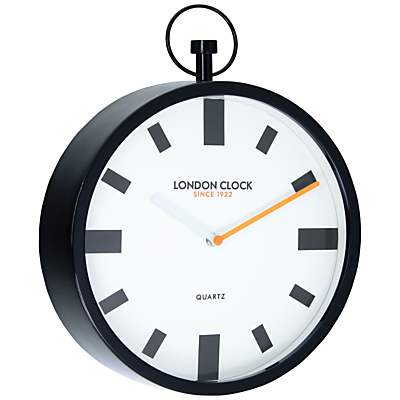 London Clock Company Fob Wall Clock, Dia. 30cm, Black