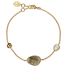 Buy John Lewis 18ct Gold Organic Gemstone Bracelet, Labradorite/Rainbow Moonstone Online at johnlewis.com