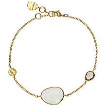 Buy John Lewis 18ct Gold Organic Stone Bracelet, Aqua/Smoky Quartz Online at johnlewis.com