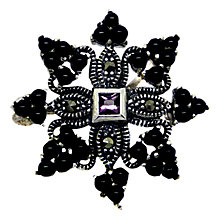 Buy Goldmajor Marcasite and Sterling Silver Brooch, Silver/Black Online at johnlewis.com