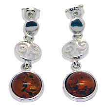 Buy Goldmajor Amber and Sterling Silver Sunset Disc Earrings, Silver/Amber Online at johnlewis.com