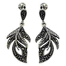 Buy Goldmajor Sterling Silver Marcasite Feather Drop Earrings, Silver Online at johnlewis.com