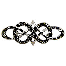 Buy Goldmajor Sterling Silver and Marcasite Celtic Design Brooch, Silver/Black Online at johnlewis.com