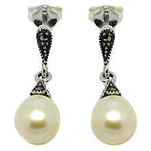 Buy Goldmajor Sterling Silver Marcasite and Freshwater Pearl Drop Earrings, Silver Online at johnlewis.com