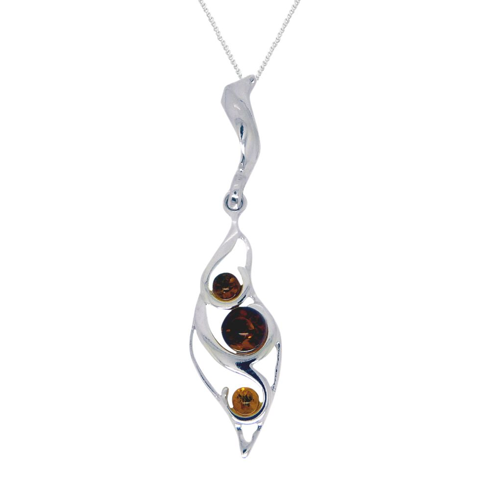 Goldmajor Goldmajor Two Tone Amber and Sterling Silver Pendant Necklace, Silver/Amber