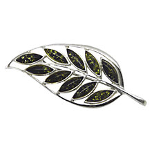 Buy Goldmajor Amber and Sterling Silver Leaf Brooch, Silver/Amber Online at johnlewis.com