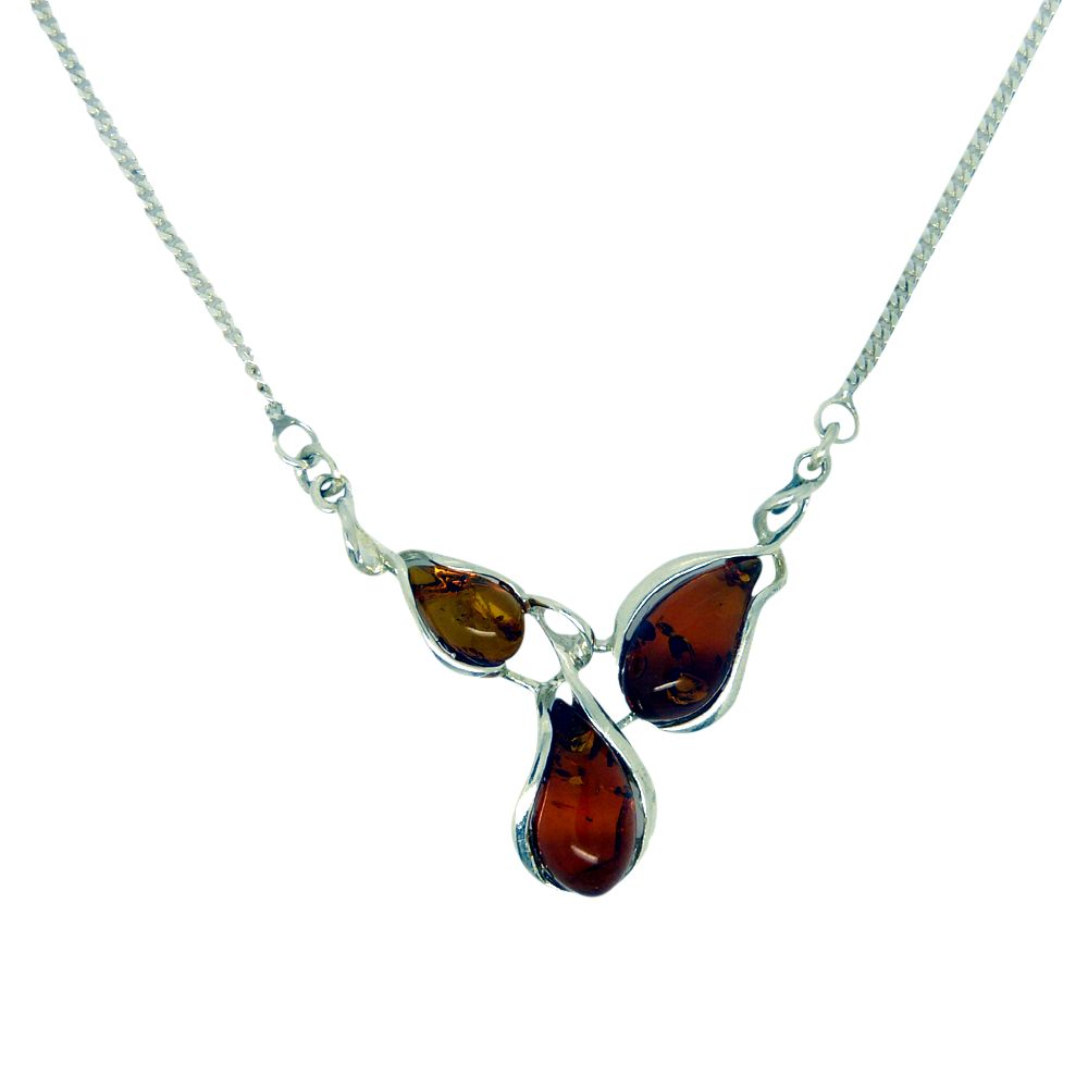 Goldmajor Goldmajor Amber and Sterling Silver Curved Teardrop Collar Necklace, Silver/Amber
