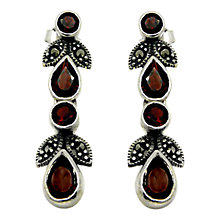 Buy Goldmajor Sterling Silver Marcasite and Garnet Drop Earrings, Silver Online at johnlewis.com