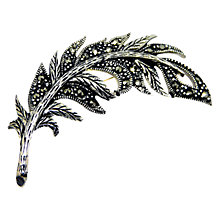 Buy Goldmajor Sterling Silver and Marcasite Feather Brooch, Silver/Black Online at johnlewis.com