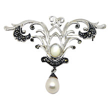 Buy Goldmajor Sterling Silver Marcasite and Pearl Brooch, Silver Online at johnlewis.com