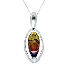 Buy Goldmajor Amber and Sterling Silver Marquise Pendant Necklace, Silver/Amber Online at johnlewis.com