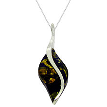 Buy Goldmajor Amber and Sterling Silver Curve Marquise Pendant, Silver/Amber Online at johnlewis.com