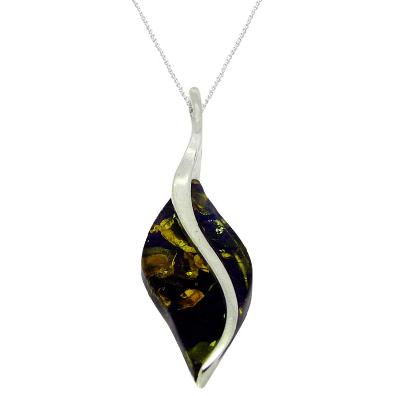 Goldmajor Goldmajor Amber and Sterling Silver Curve Marquise Pendant, Silver/Amber
