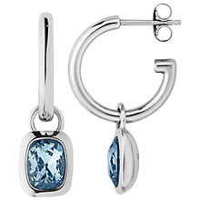 Buy Dyrberg/Kern Swarovski Crystal Hoop Earrings, Silver/Blue Online at johnlewis.com