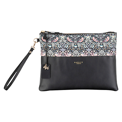 Radley William Morris Collection Leather Clutch Bag Black